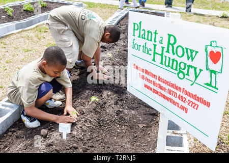 Miami Florida Liberty City Liberty Square public housing ceremony dedication community garden plot allotment urban Black boy stu - Stock Image