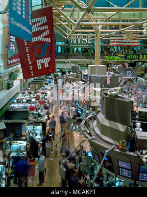 The New York Stock Exchange (NYSE), sometimes known as the Big Board, is a stock exchange located at 11 Wall Street, Lower Manhattan, New York City, New York, United States. It is by far the world's largest stock exchange by market capitalization of its listed companies at US$16.613?trillion as of May 2013. Average daily trading value was approximately US$169?billion in 2013. - Stock Image
