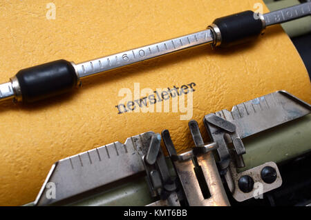 Newsletter text on typewriter - Stock Image
