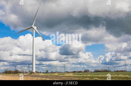 small wind Park - Wind Turbines - renewable energie - Stock Image