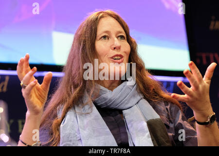Hay Festival, Hay on Wye, Powys, Wales, UK - Thursday 30th May 2019 - Traveller and presenter Alice Morrison on stage at the Hay Festival to talk about her journeys through Morocco to Timbuktu and her book My 1,001 Nights - Tales and Adventures from Morocco. Photo Steven May / Alamy Live News - Stock Image