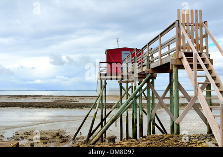 Carrelet on the isle of Ile Madame,repaired after the flood, Charente Maritime, Atlantic coast, France - Stock Image