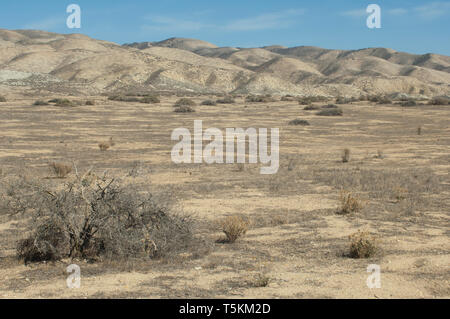 San Andreas Fault-hills on the North American plate, foreground on the Pacific plate, Carrizo Plain, California. Digital photograph - Stock Image