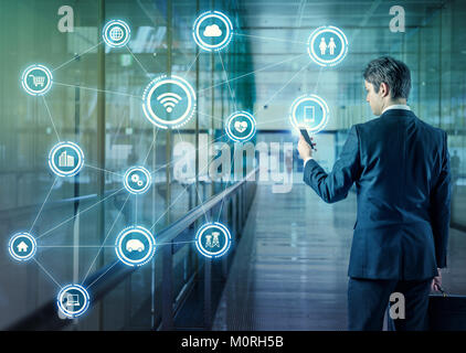 Internet of Things concept. Wireless Communication Network. Information Communication Technology. abstract image - Stock Image
