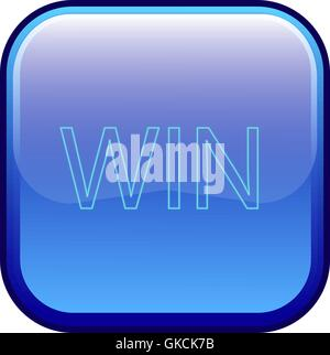 Big blue button labeled 'win' - Stock Image