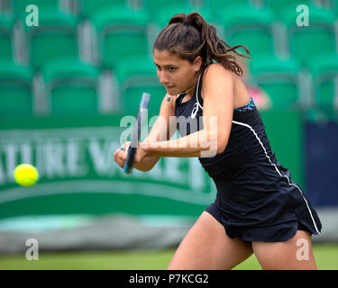 Jaimee Fourlis, professional tennis player from Australia, hits a shot during a match. - Stock Image