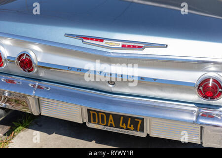 Chevrolet, back end of vintage car - Stock Image