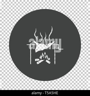 Roasting meat on fire icon. Subtract stencil design on tranparency grid. Vector illustration. - Stock Image
