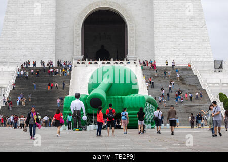 An inflatable Tank Man is displayed at Chiang Kai-shek Memorial Hall in Taipei to mark the 30th anniversary of the June 4, 1989 Tiananmen massacre. - Stock Image