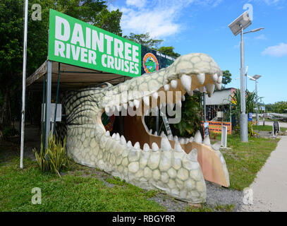 Crocodile statue at a Daintree River cruises booking office, Daintree National Park, Far North Queensland, FNQ, QLD, Australia - Stock Image