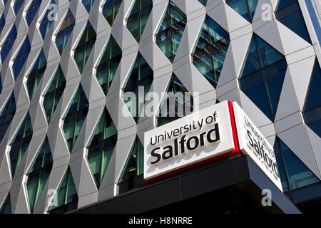 University of Salford, Orange Tower Building , Media City, Salford Quays, Salford, Greater Manchester, England, - Stock Image