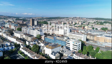 Aerial view of  the town of Brighton, England. Around the train station - Stock Image