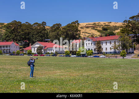 adult woman, photographer, photographing, Cavallo Point Lodge, The Lodge at the Golden Gate, Fort Baker, city of Sausalito, Marin County, California - Stock Image