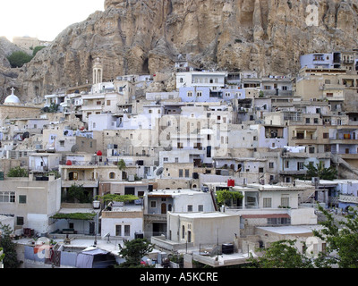 Malula is one of the most famous villages in Syria. At the rock slopes are loam houses. In Malula is also convent - Stock Image
