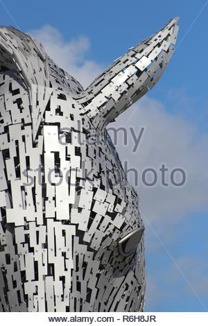 A close up of one of the Kelpies in Falkirk, Scotland, United Kingdom. - Stock Image