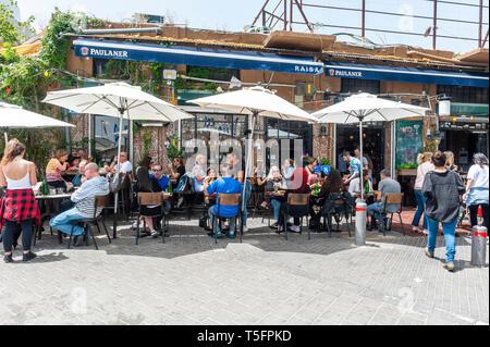 Israel, Tel Aviv-Yafo - 24 April 2019: Restaurant in Shuk hapishpeshim flea market - Stock Image