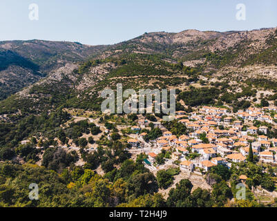 Aerial view of a traditional greek village on the island of Thasos (Thassos) - Stock Image
