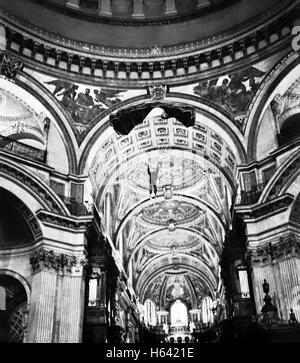 Russell Powell BASE 230 BASE Jumping from the Whispering Gallery inside St Pauls' Cathedral London. Picture - Stock Image