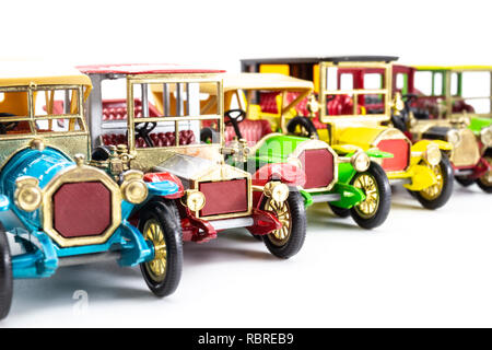 Line-up of Matchbox Models of Yesteryear cars - Stock Image