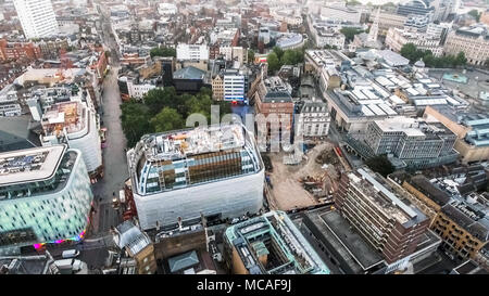 London City Town Centre Aerial View in Leicester Square around Covent Garden and Trafalgar Square in England United Kingdom UK - Stock Image