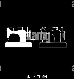 Stitching machine Sewing machine Tailor equipment vintage icon outline set white color vector illustration flat style simple image - Stock Image