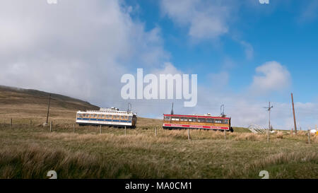 RS 8020  Snaefell Mountain Railway at Bungalow, Isle of Man, UK - Stock Image