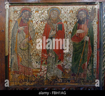 Painted Apostles on the Rood Screen, Saints Phillip, Bartholomew and one other, Much defaced; St Michael's Church, - Stock Image