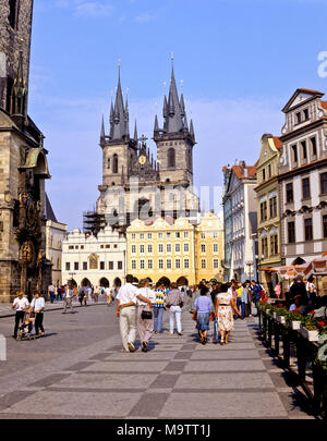9074. Old Town Square and Tyn Church, Prague,  Czech Republic, Europe - Stock Image
