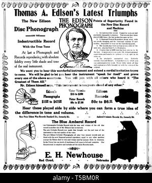 Newspaper Advertisement for Thomas Edison's  New Disc Phonograph and Blue Amberol Cylinder, 1913 - Stock Image
