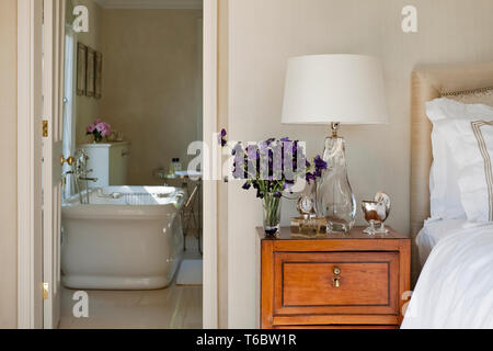 View of bathroom from bedroom - Stock Image