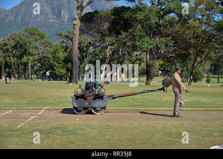 Groundskeeper using a vintage roller to harden to surface of the bowling lane of the local park's cricket ground.  Close up view of machine and man. - Stock Image