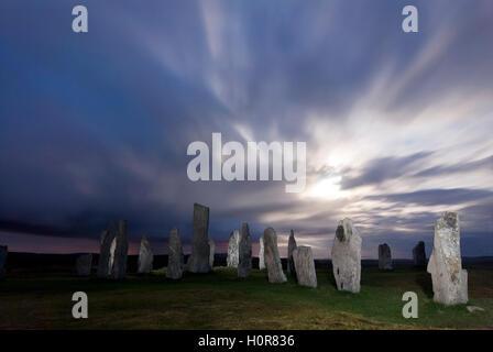 Callanish Stone Circle at night during full moon Isle of Lewis Outer Hebrides Western Isles Scotland UK GB Europe - Stock Image