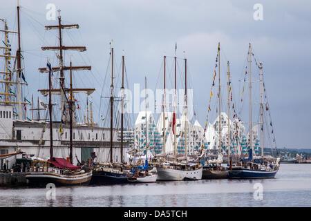 Aarhus, Denmark. 4th July, 2013. Aarhus harbour during The Tall Ships Races 2013 in Denmark. The city of Aarhus - Stock Image