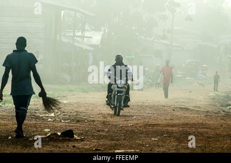 Street scene in Ganta, Liberia - Stock Image