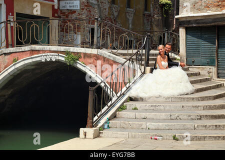 Just married - wedding in Venice, Italy. - Stock Image