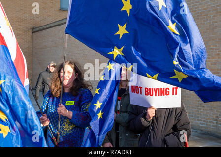 Oxford, UK. 8th December 2018. The Bollocks to Brexit Bus Tour visit to Oxford was greeted by Peoples Vote and Remain anti Brexit campaigners. The aim of the campaign was to motivate people to write letters to their MPs demanding a final say, and to become more active in the campaign to stop Brexit. Campaigners marched from Oxford Railway Station to Cornmarket Street in the town centre, where a rally took place. Boris Johnson impersonator Drew Galdon, FauxBoJo, and Madeleina Kay, EU Supergirl, entertained and put over the campaigns message. Credit: Stephen Bell/Alamy Live N - Stock Image