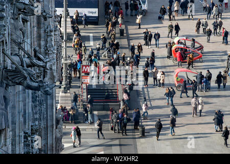 Italy, Lombardy, Milan, Duomo Square from Duomo rooftop - Stock Image