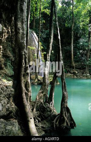 Waterfall Erawan National Park - Stock Image