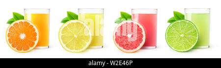 Isolated citrus fruit juices. Glasses of orange, lemon, lime and grapefruit drinks and one slice of fruit isolated on white background with clipping p - Stock Image