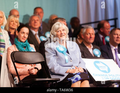 Ann Widdecombe addressing the supporters, during a Brexit Party Rally at Olympia, London. - Stock Image