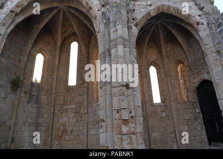 The ruins of the Lady of the Castle Cathedral in the old town in Rhodes, Greece. - Stock Image