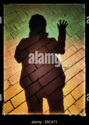 Shadow silhouette selfie with hand waving over brick pavement, with muted green, red and yellow gradation overlay - Stock Image