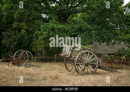 old wooden carriage standing on a brown meadow - Stock Image