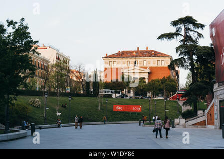Madrid, Spain - April 14, 2019: View of Prado Museum in Madrid at sunset. It is the main Spanish national art museum - Stock Image