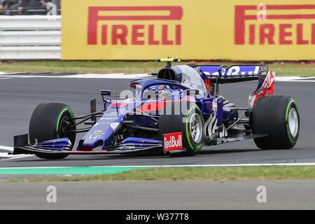 Silverstone Circuit. Northampton, UK. 13th July, 2019. FIA Formula 1 Grand Prix of Britain, Qualification Day; Alexander Albon driving his Red Bull Toro Rosso Honda STR14 Credit: Action Plus Sports/Alamy Live News - Stock Image