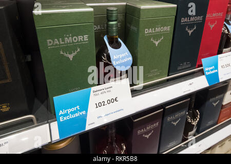 No Age Statement travel retail whisky marked airport exclusive at EuroAirport Basel Mulhouse Freiburg duty free shop - Stock Image