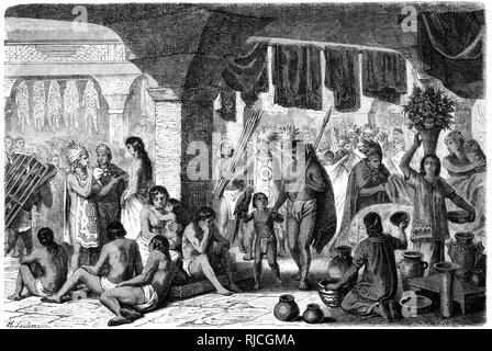 A market scene in the city state of Tlatelolco before the Spanish invasion. Various Mexica people crowd around market vendors in a colonnade selling wares such as pottery, animals skins, livestock, and cloth. Several people sit by a column to rest. A man walks forward carrying a dead pig, holding hands with a boy carrying a parrot. - Stock Image