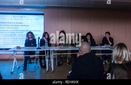 Paris, France, LGBT Activism, Panel Speakers, French People Public Meeting, PrEP and Transgenders, Sidaction, - Stock Image