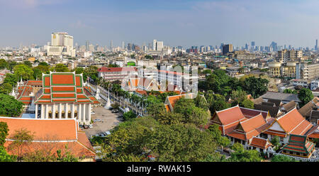 Panoramic view from the Golden Mount in Bangkok in Thailand - Stock Image