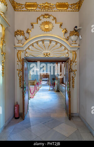 Historic Manial palace of Prince Mohammed Ali Tawfik. Entrance of the second floor of residence of prince's mother, Cairo, Egypt - Stock Image